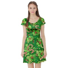 Green Holly Short Sleeve Skater Dress