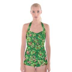 Green Holly Boyleg Halter Swimsuit