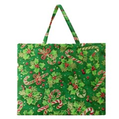 Green Holly Zipper Large Tote Bag