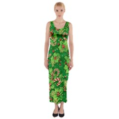 Green Holly Fitted Maxi Dress