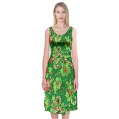 Green Holly Midi Sleeveless Dress