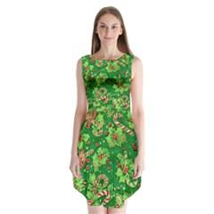 Green Holly Sleeveless Chiffon Dress