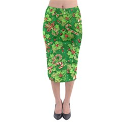 Green Holly Midi Pencil Skirt