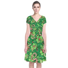 Green Holly Short Sleeve Front Wrap Dress