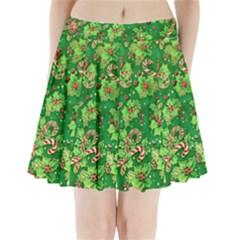 Green Holly Pleated Mini Skirt