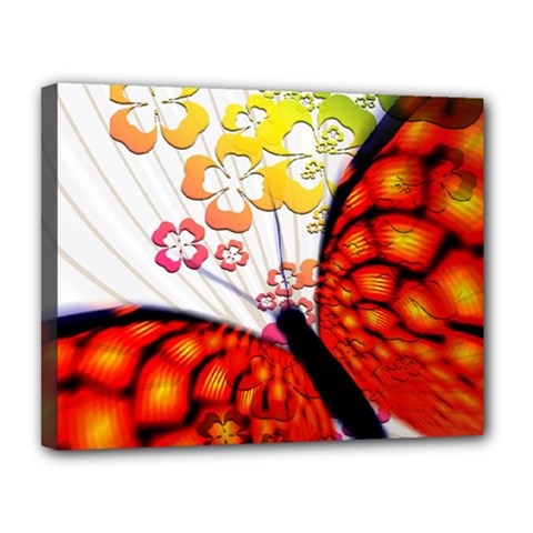 Greeting Card Butterfly Kringel Canvas 14  x 11