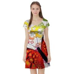 Greeting Card Butterfly Kringel Short Sleeve Skater Dress