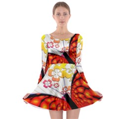 Greeting Card Butterfly Kringel Long Sleeve Skater Dress