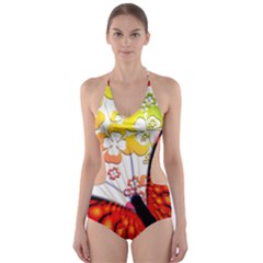 Greeting Card Butterfly Kringel Cut Out One Piece Swimsuit