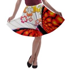 Greeting Card Butterfly Kringel A-line Skater Skirt