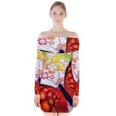 Greeting Card Butterfly Kringel Long Sleeve Off Shoulder Dress