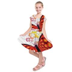 Greeting Card Butterfly Kringel Kids  Short Sleeve Dress