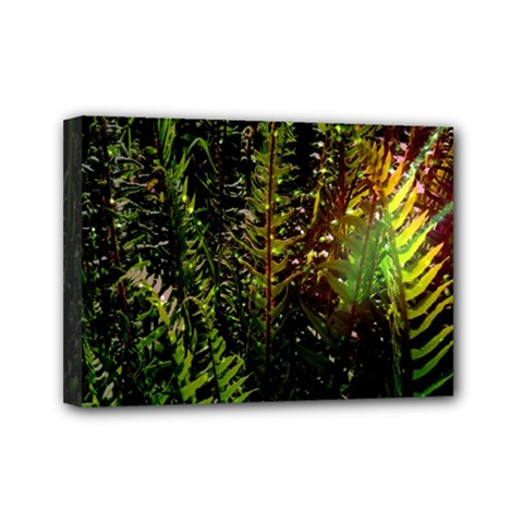 Green Leaves Psychedelic Paint Mini Canvas 7  x 5