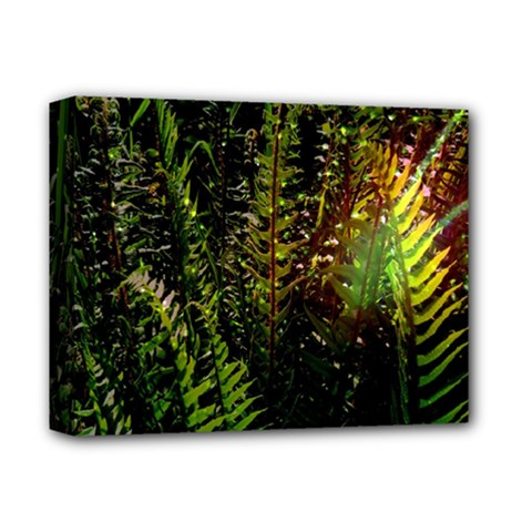 Green Leaves Psychedelic Paint Deluxe Canvas 14  x 11
