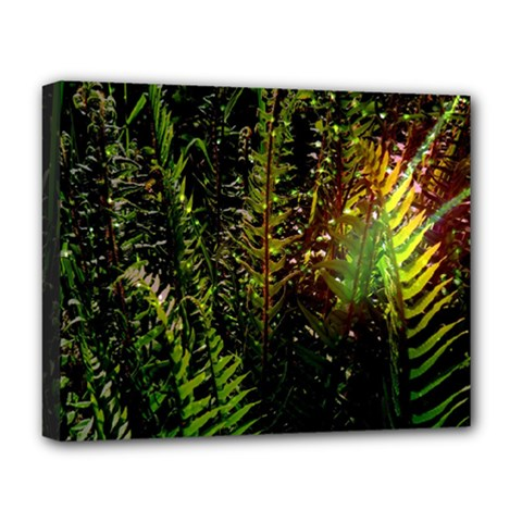 Green Leaves Psychedelic Paint Deluxe Canvas 20  x 16
