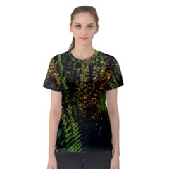 Green Leaves Psychedelic Paint Women s Sport Mesh Tee