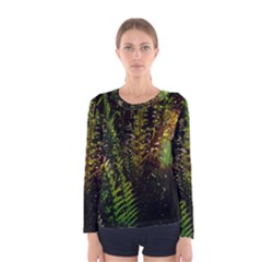 Green Leaves Psychedelic Paint Women s Long Sleeve Tee