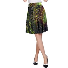 Green Leaves Psychedelic Paint A-Line Skirt