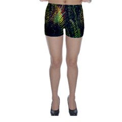 Green Leaves Psychedelic Paint Skinny Shorts
