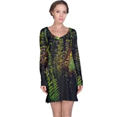 Green Leaves Psychedelic Paint Long Sleeve Nightdress