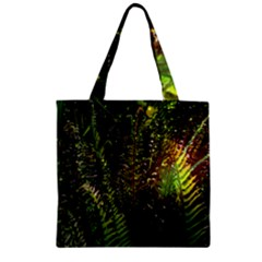 Green Leaves Psychedelic Paint Zipper Grocery Tote Bag