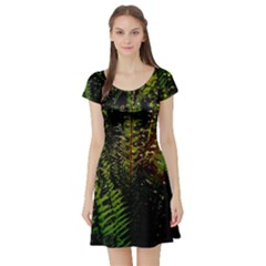 Green Leaves Psychedelic Paint Short Sleeve Skater Dress