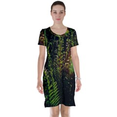 Green Leaves Psychedelic Paint Short Sleeve Nightdress