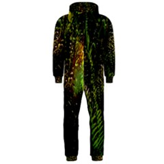 Green Leaves Psychedelic Paint Hooded Jumpsuit (Men)