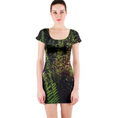 Green Leaves Psychedelic Paint Short Sleeve Bodycon Dress
