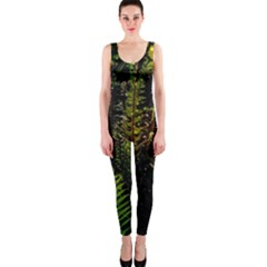 Green Leaves Psychedelic Paint OnePiece Catsuit