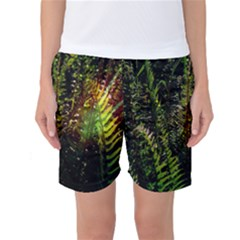 Green Leaves Psychedelic Paint Women s Basketball Shorts