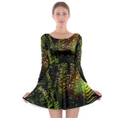 Green Leaves Psychedelic Paint Long Sleeve Skater Dress