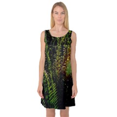 Green Leaves Psychedelic Paint Sleeveless Satin Nightdress