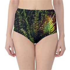 Green Leaves Psychedelic Paint High-Waist Bikini Bottoms