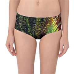 Green Leaves Psychedelic Paint Mid Waist Bikini Bottoms