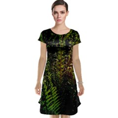 Green Leaves Psychedelic Paint Cap Sleeve Nightdress