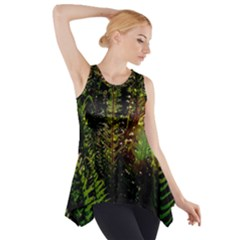 Green Leaves Psychedelic Paint Side Drop Tank Tunic