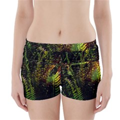 Green Leaves Psychedelic Paint Boyleg Bikini Wrap Bottoms