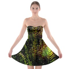 Green Leaves Psychedelic Paint Strapless Bra Top Dress