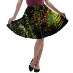 Green Leaves Psychedelic Paint A-line Skater Skirt