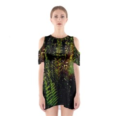 Green Leaves Psychedelic Paint Shoulder Cutout One Piece
