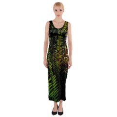 Green Leaves Psychedelic Paint Fitted Maxi Dress