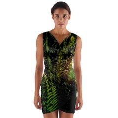 Green Leaves Psychedelic Paint Wrap Front Bodycon Dress