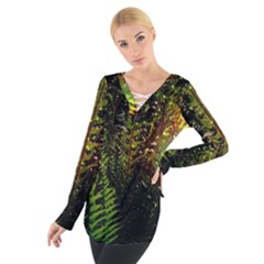 Green Leaves Psychedelic Paint Women s Tie Up Tee