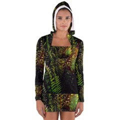 Green Leaves Psychedelic Paint Women s Long Sleeve Hooded T Shirt
