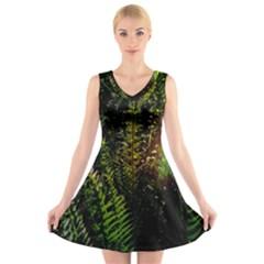 Green Leaves Psychedelic Paint V Neck Sleeveless Skater Dress