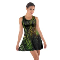 Green Leaves Psychedelic Paint Cotton Racerback Dress