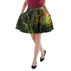 Green Leaves Psychedelic Paint A Line Pocket Skirt
