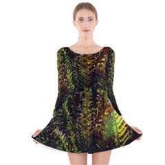 Green Leaves Psychedelic Paint Long Sleeve Velvet Skater Dress