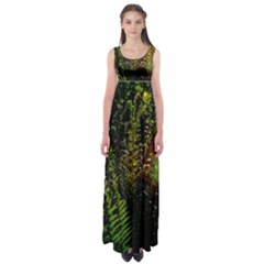 Green Leaves Psychedelic Paint Empire Waist Maxi Dress